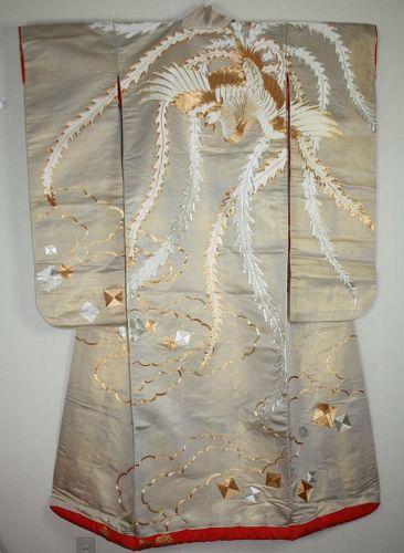 silk  gold woven ground uchikake embroidered uchikake kimono