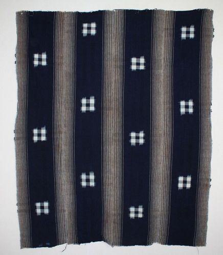 Japanese antique Indigo dyeing cotton kasuri ikat textile of Meiji