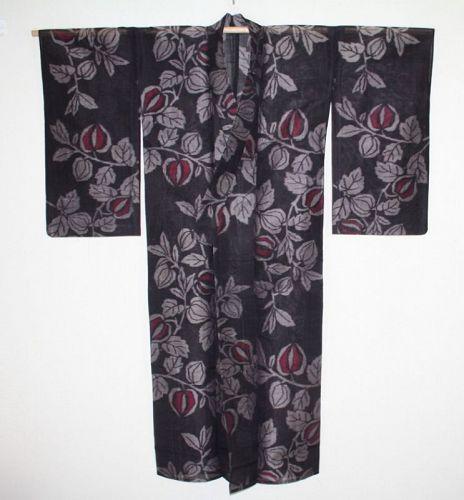 Japanese vintage silk meisen kimono of Charming Impatiens balsamina