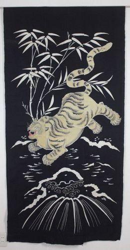 Japanese Antique Impressive wonderful bamboo tiger Tsutsugaki