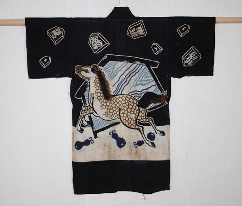 Japanese antique child hanten indigo dye cotton tsutsugaki Horse,ema