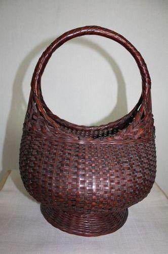 Japanese antique bamboo basket Nice dark color susudake of meiji