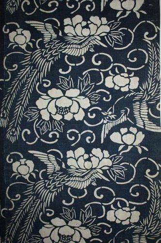 Japanese antique katazome indigo dye thick cotton of 70.8inch