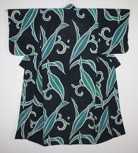 Japanese vintage beautiful soft silk summer hitoe ro kimono