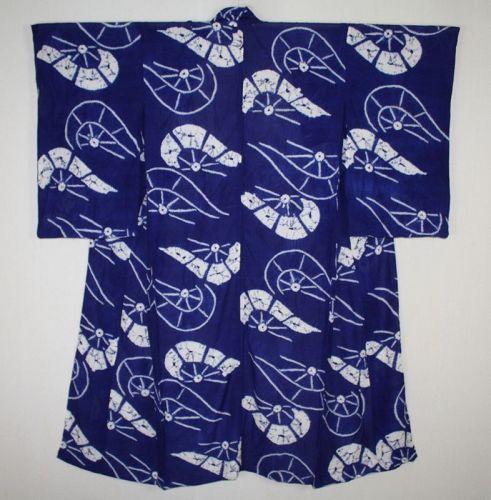 Japanese vintage beautiful indigo dye hand shibori silk summer kimono