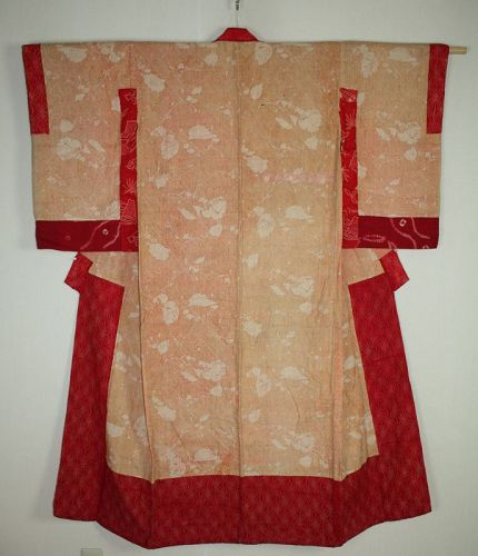 Japanese antique natural Safflower dyeing cotton & shibori kimono
