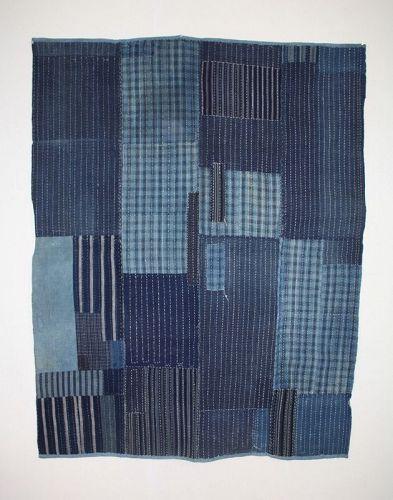 Japanese antique stripe indigo dye cotton sashiko stitch big boro