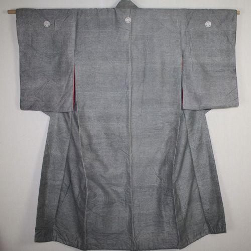 Japanese antique edo komon katazome silk kimono of the edo era