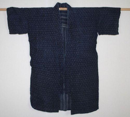 Japanese antique handspun & natural indigo dye hemp kasuri noragi