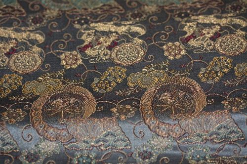 Japanese antique silk kinran gold weave maru obi of Phoenix &  Dragon