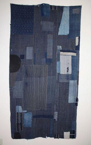 Japanese antique indigo dye cotton kasuri  patched big boro textile