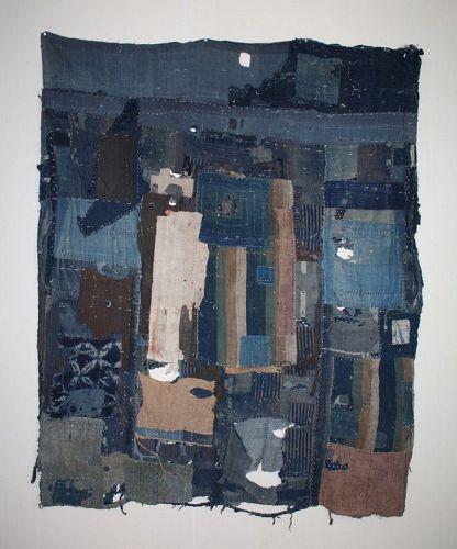 Japanese Antique Hand-Spun Cotton  indigo dye patched boro rag
