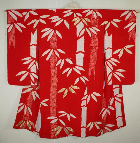 Japanese antique silk beautiful  jyuba kimono hand shibori  embroidery