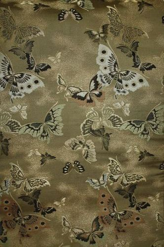 Japanese antique Excellent sik gold Maru obi of Exotic butterflies