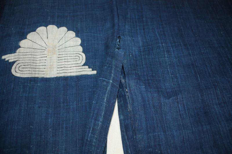 Japanese antique indigo dye hemp samurai hitatare textile edo-meiji