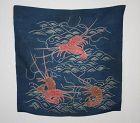 Japanese antique edo era silk tsutsugaki l indigo dye yuzen dye fukusa