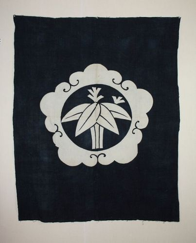 Japanese antque tsutsugaki  indigo dye cotton big  thick textile