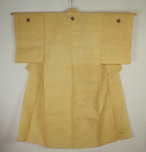 Japanese anrique edo  natural  vegetable dye Hemp  samurai kimono