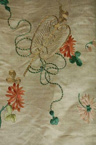 Japanese antique edo (1780) silk embroidery kakeshit obi textile