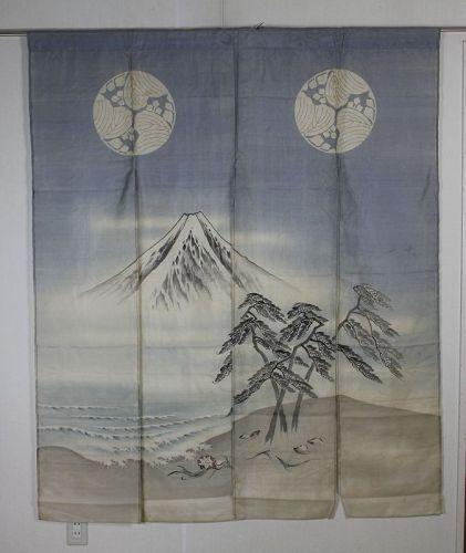 Japanese antique Edo silk kaga-noren of Mount Fuji & seaside landscape