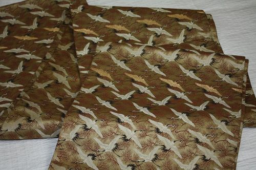 Japanese antique silk maru obi of Young leaves of pine  Flock of crane
