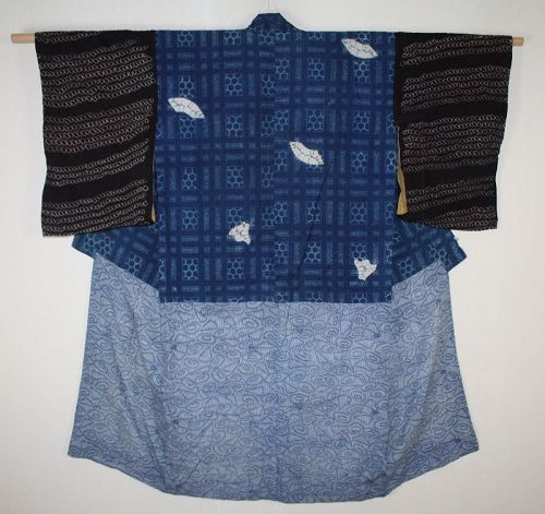 japanese Very nice handspun & natural indigo dye thick cotton katazome