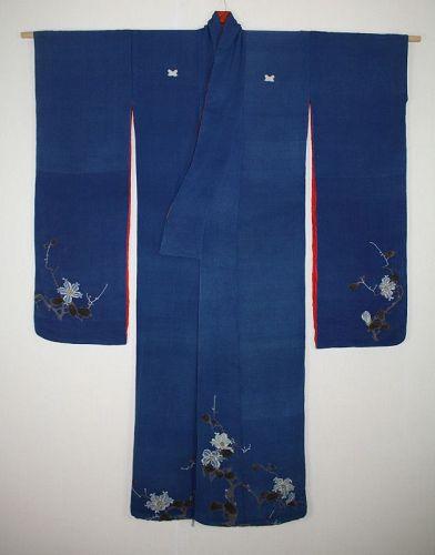 Japanese edo yuzen indigo dye silk kimono of Very beautiful Magnolia