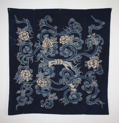 Japanese antique indigo tsutsugaki big furoshiki rare design edo era