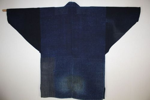 Japanese indigo dye cotton Boro old Thick noragi sashiko patched