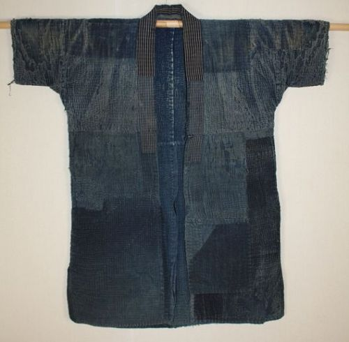 Japanese antique Thick indigo dye cotton Boro noragi of sashiko stitch