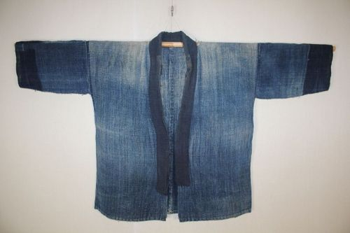 Japanese antique natural indigo dye hemp Boro noragi