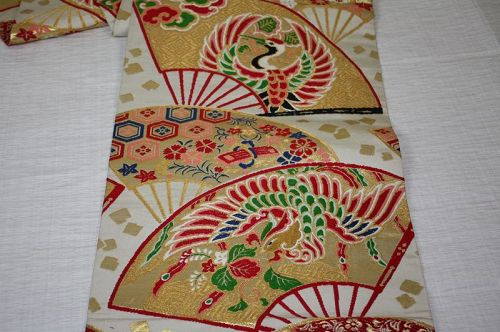Japanese antique silk maru obi of Phoenix and flower of Crane and fan