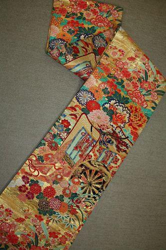 Japanese antique silk gorgeous  beautiful maru obi of meiji-taisyo era
