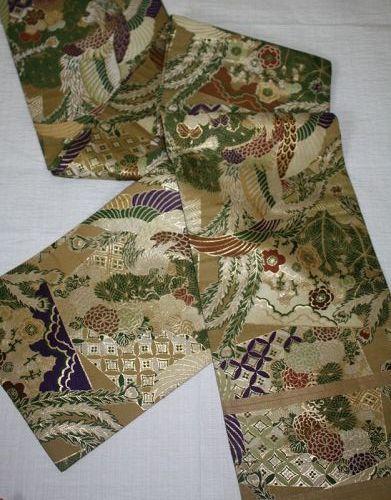 Japanese antique silk weave Gorgeous  maru obi of taisyo-meiji