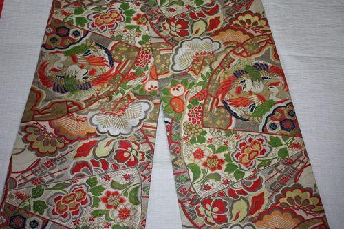 antique silk gorgeous and beautiful maru obi of Phoenix , pine ,flower