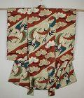 Japanese antique silk katazome Good qualit child kimono the Taisho era