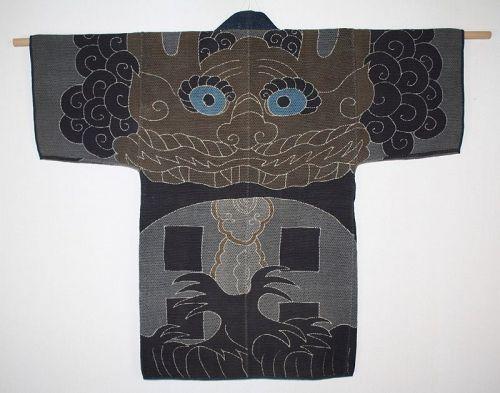 Japanese antique fireman coatof sashiko tsutsugaki Excellent Edo era