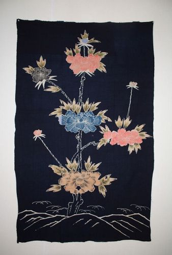 Japanese antique Peony Surreal tsutsugaki of indigo dye cotton of edo