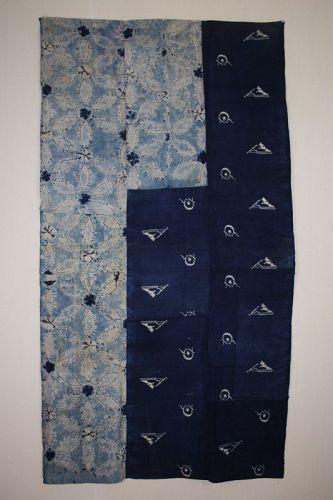 Japanese antique bed cover ndigo dye cotton asamai shibori & kasuri