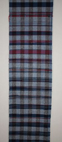 Japanese antique zanshi weaved long fabric of indigo dye cotton silk
