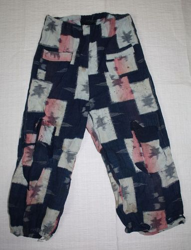 Japanese antique cotton kasuri monpe (pants) for 2-3 years old the war