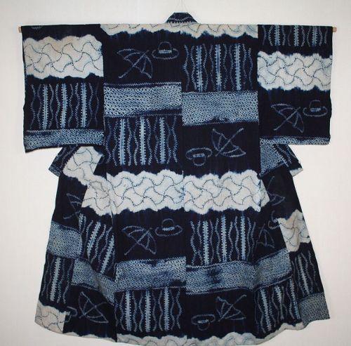 Japanese antique indigo dye cotton asamai-shibori kimono of edo