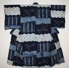 Japanese antique indigo dye cotton asamai-shibori kimono of edo