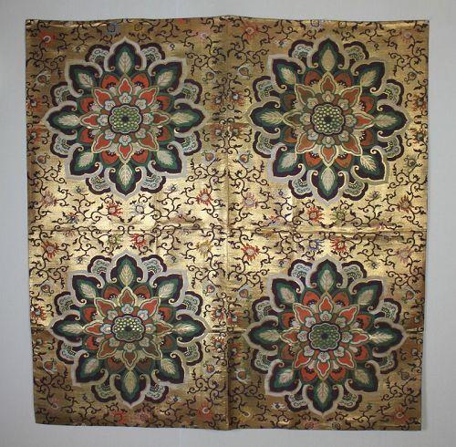 Japanese antique edo period silk gold big kinran uchishiki textile