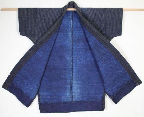 Japanese antique indigo dye cotton Sashiko Boro Noragi edo Period