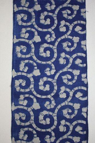 Japanese antique handspun & natural  indigo dye katazome long fabric