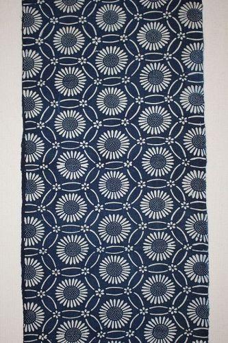 Japanese antique Thick handspun & natural  indigo dye katazome long