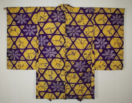 Excellent japanese vintage silk haori jacket of hand shibori Tie-dye