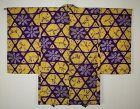 Excellent japanese vintage silk haori jacket of hand shibori Tie-dye