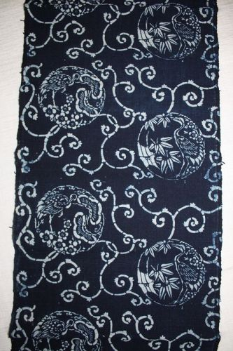 Japanese antique Thick handspun & natural  indigo dye katazome cotton